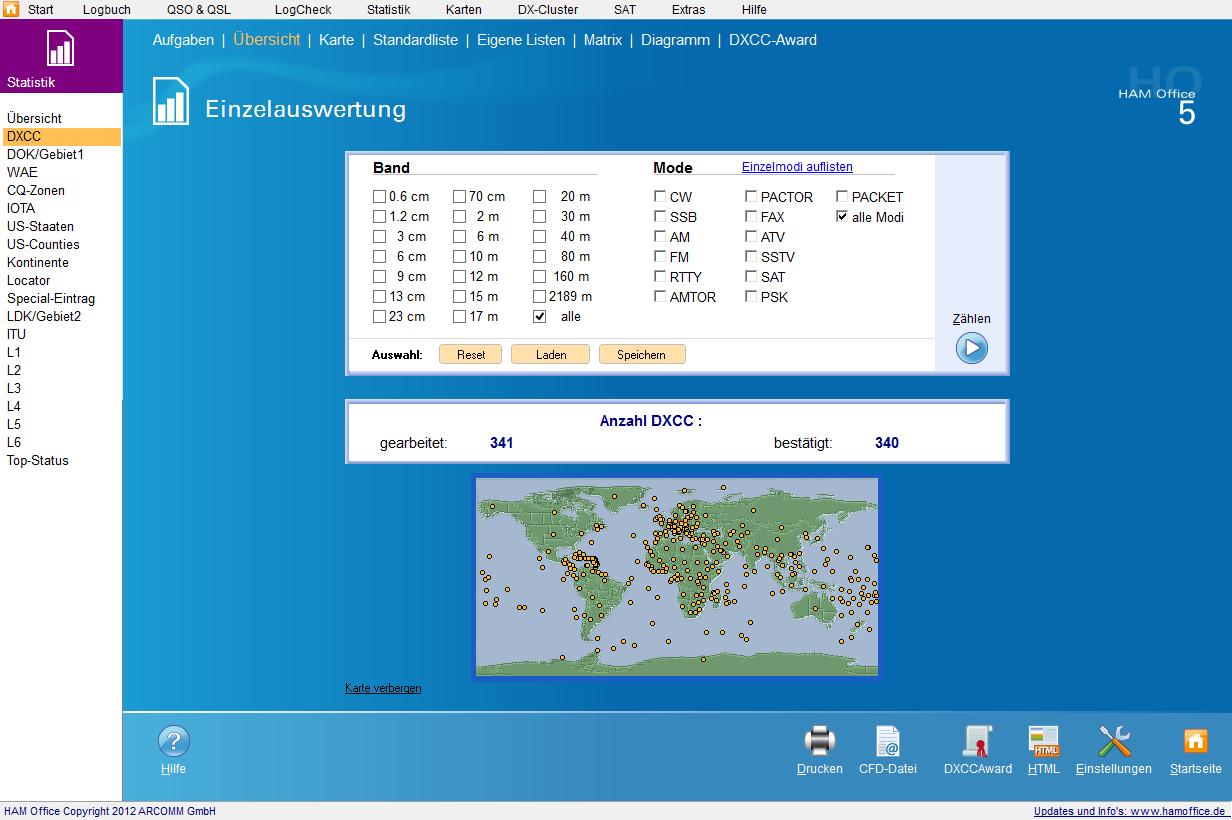 qso-auswertungen übersicht mit Karte