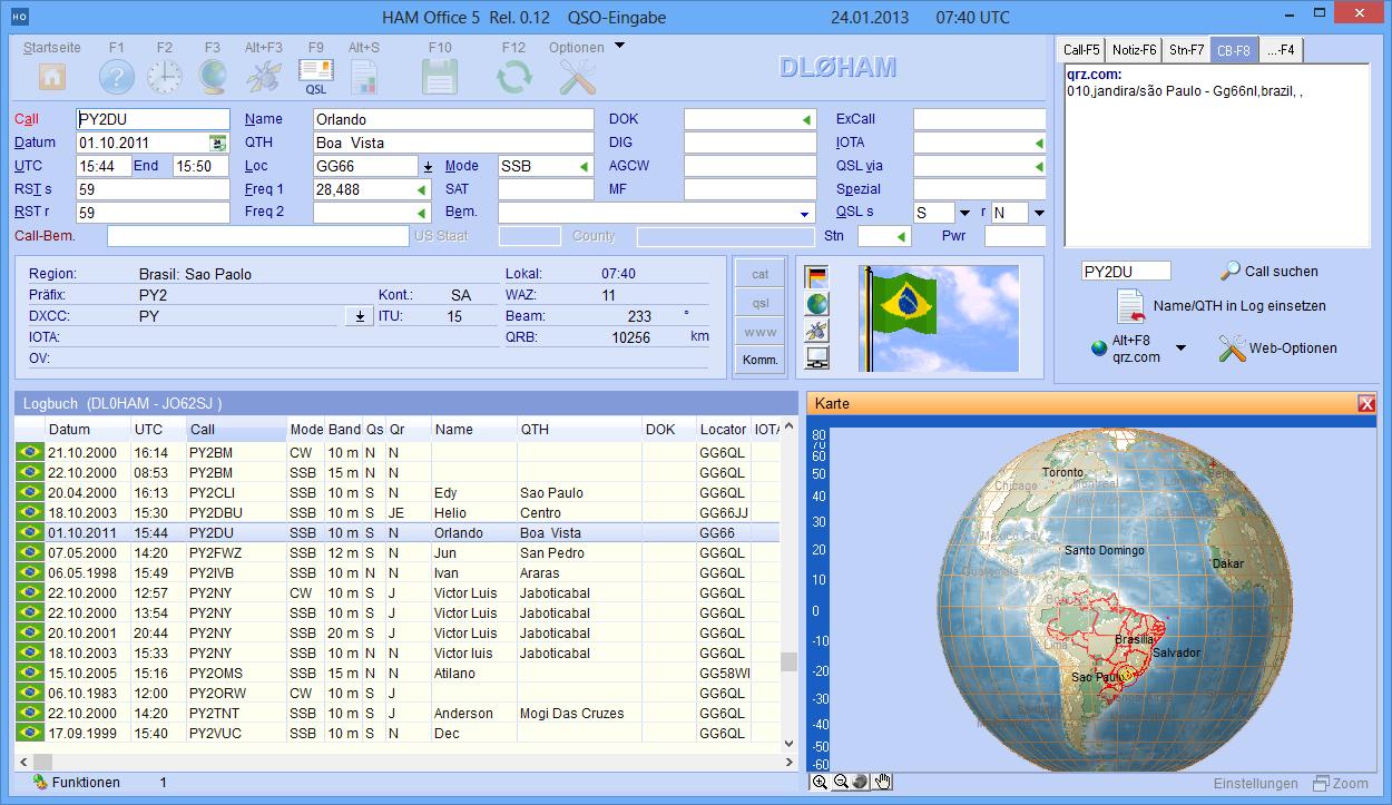 Globus-Darstellung bei QSO-Eingabe
