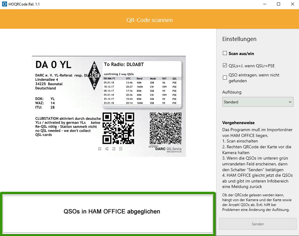 QR-Code von QSL-Karten einscannen
