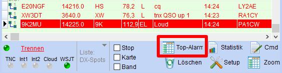 Top-Alarm-Funktion im DX-Alarm-Fenster