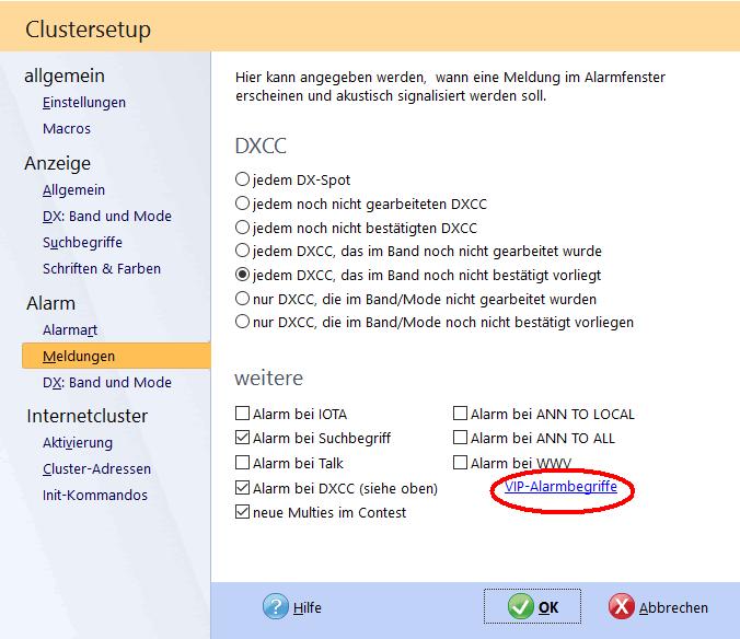 DX-Cluster VIP-Alarm aufrufen