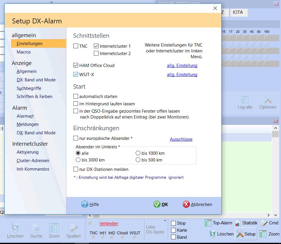 WSJT-X Aktivierung bei DX-Alarm