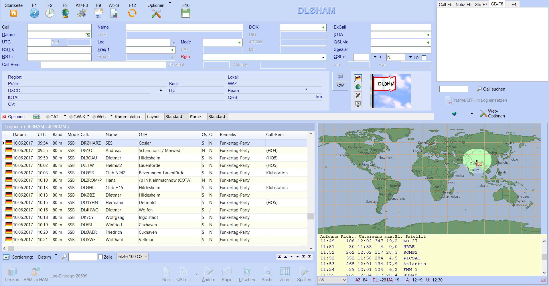 qso-eingabe mit satelliten-verfolgung hamoffice mein amateurfunk logbuch