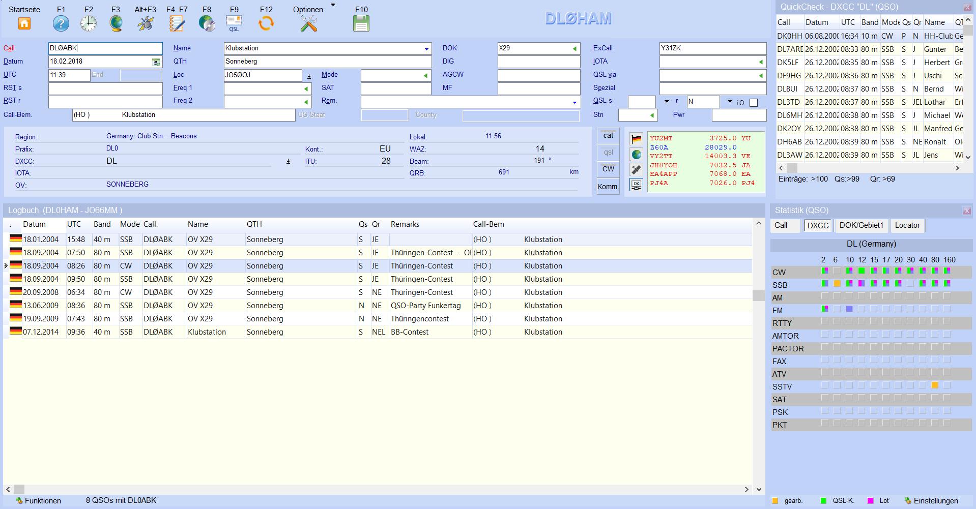 qsoeingabe-einteilung quickcheck log statistik hamoffice mein amateurfunk logbuch
