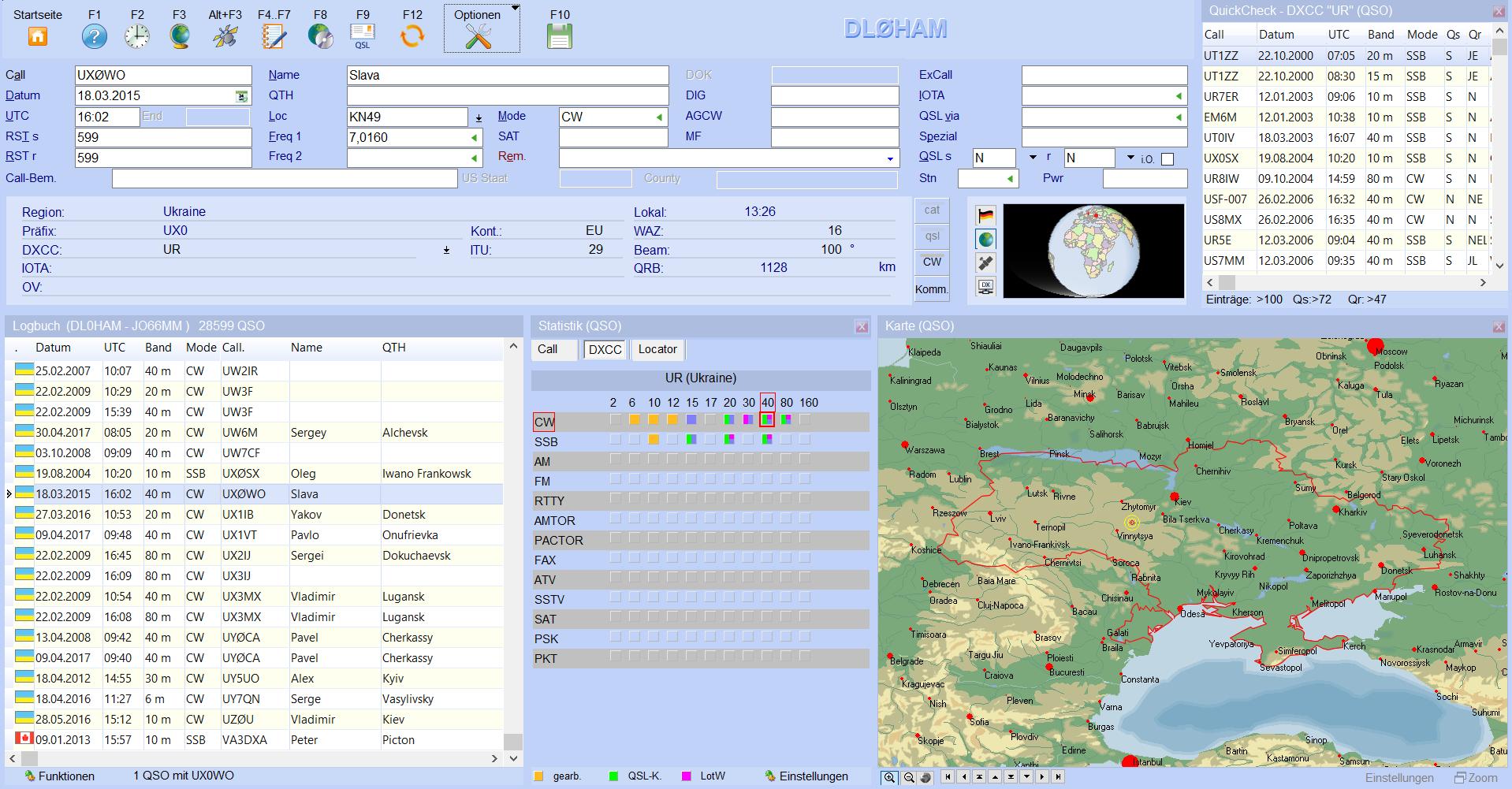 qsoeingabe einteilung mit quickcheck karte und statistik hamoffice mein logbuch