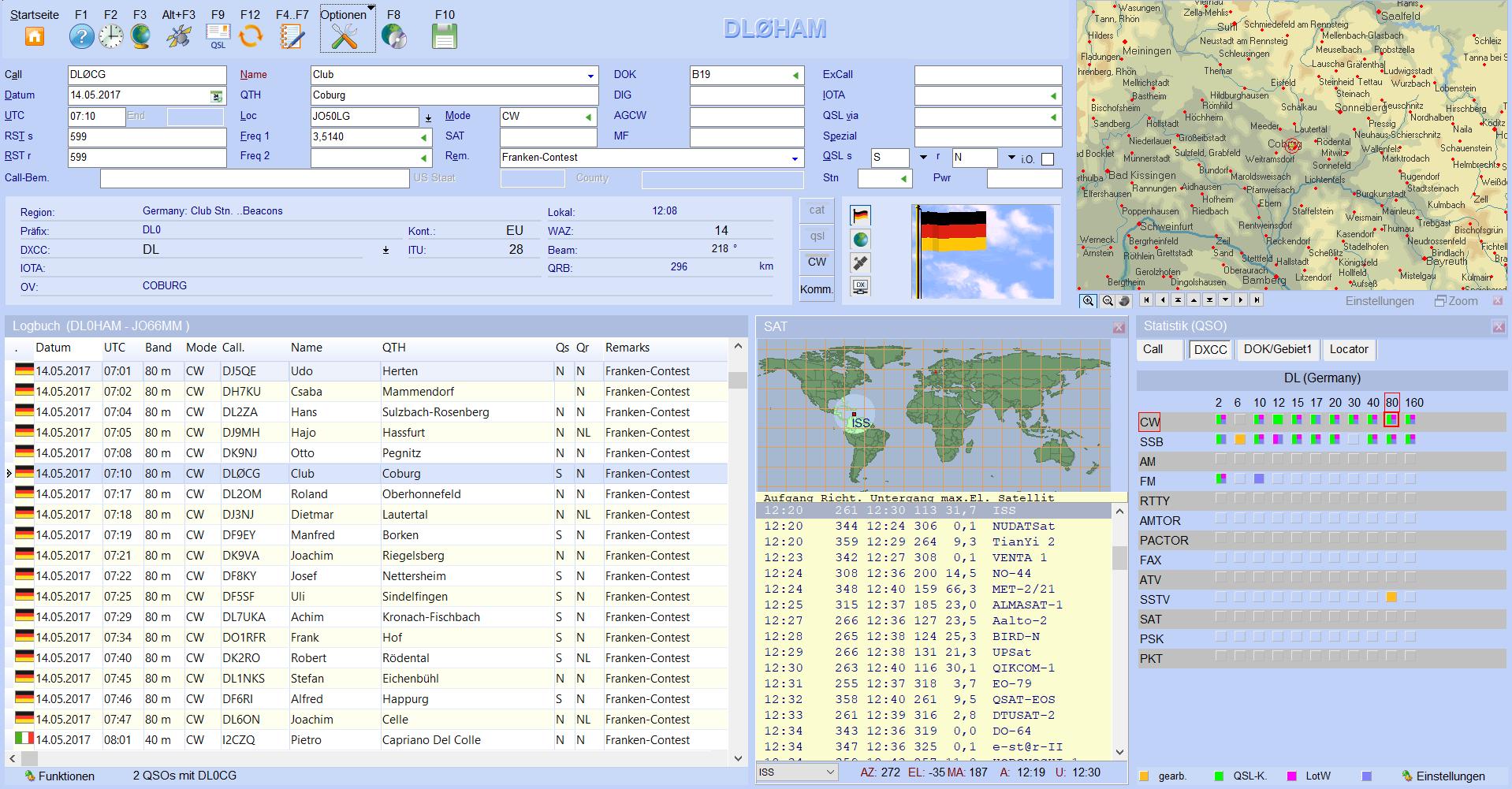 qso-eingabe satelliten flagge infofenster hamoffice mein amateurfunk logbuch