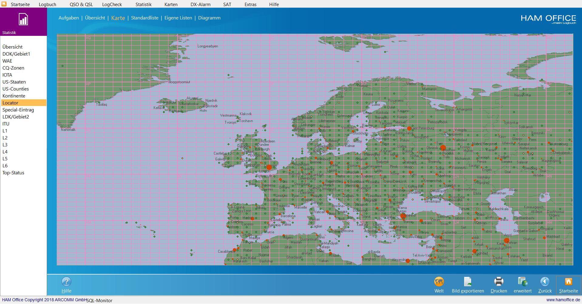 qso-auswertungen locator-karte EU hamoffice mein amateurfunk logbuch