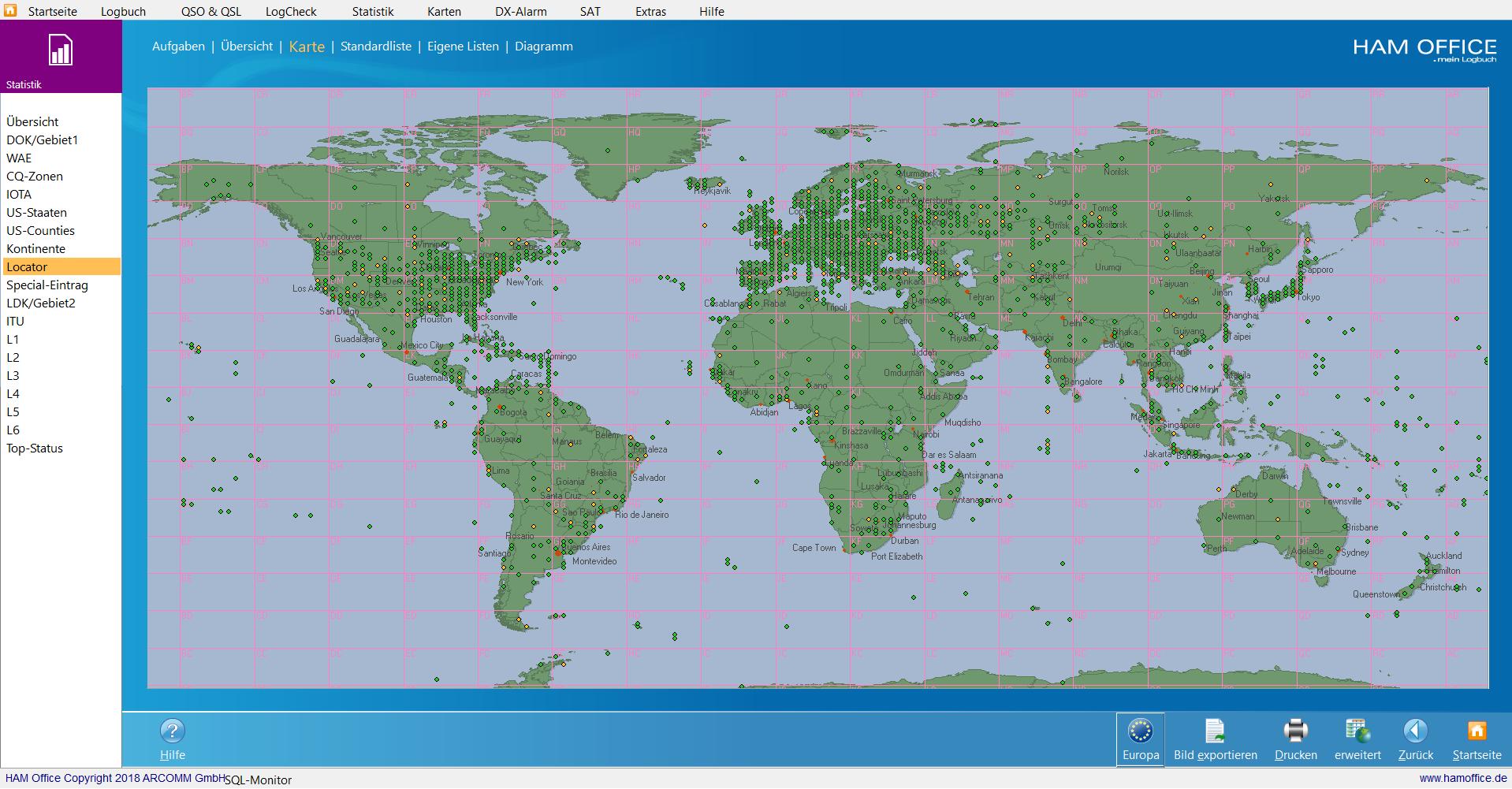 qso-auswertungen Locator-Karte Welt hamoffice mein amateurfunk logbuch