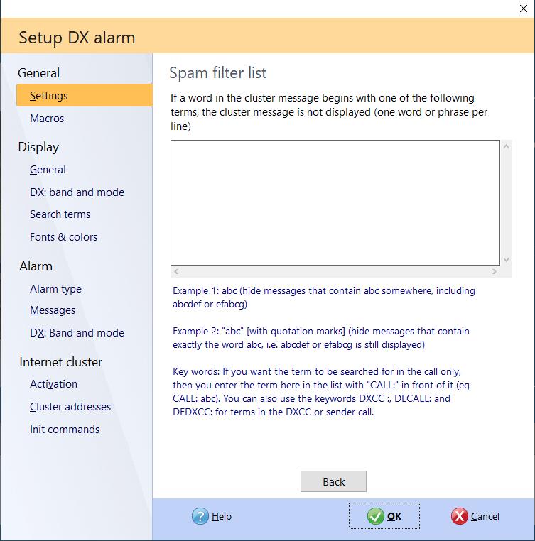 exclusion list dx-alarm