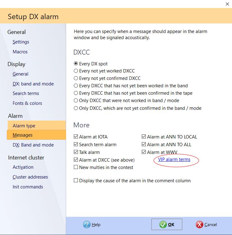 dx cluster vip alarm