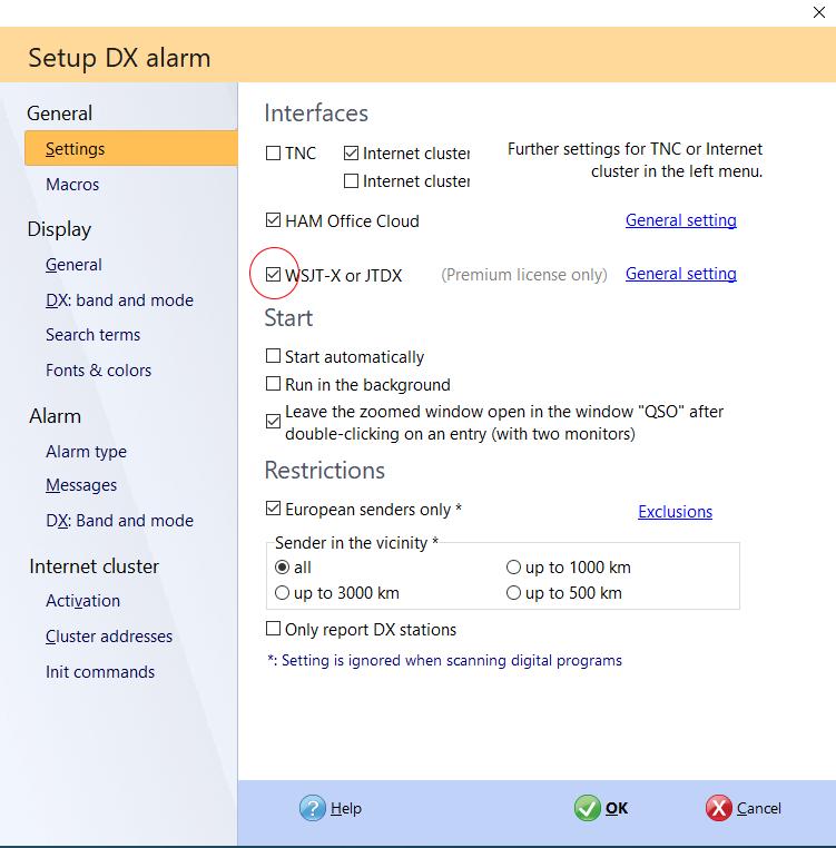 activate WSJT-X in dx alarm
