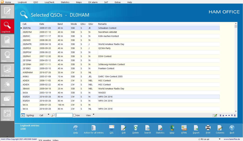 QSO-Check resultlist Hamoffice my Amateur radio Logbook