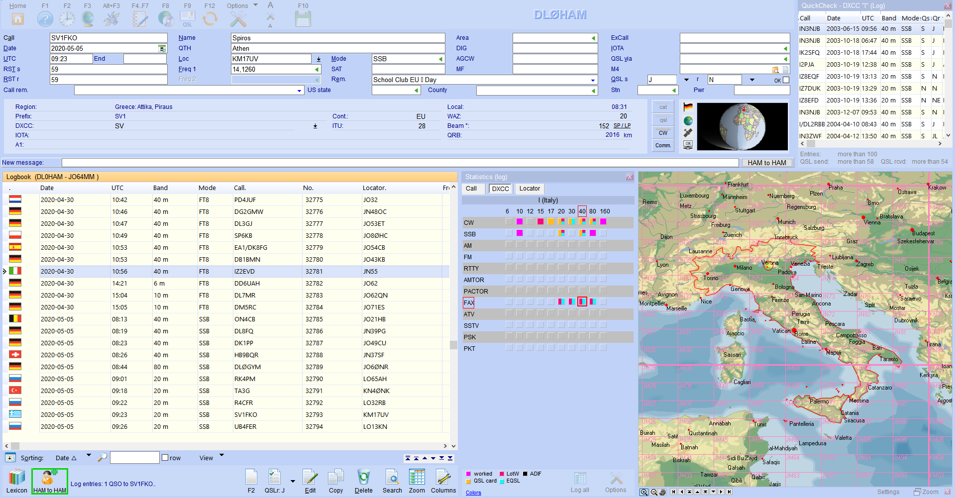 qso-input layout with quickcheck map and statistics hamoffice my amateur radio logbook