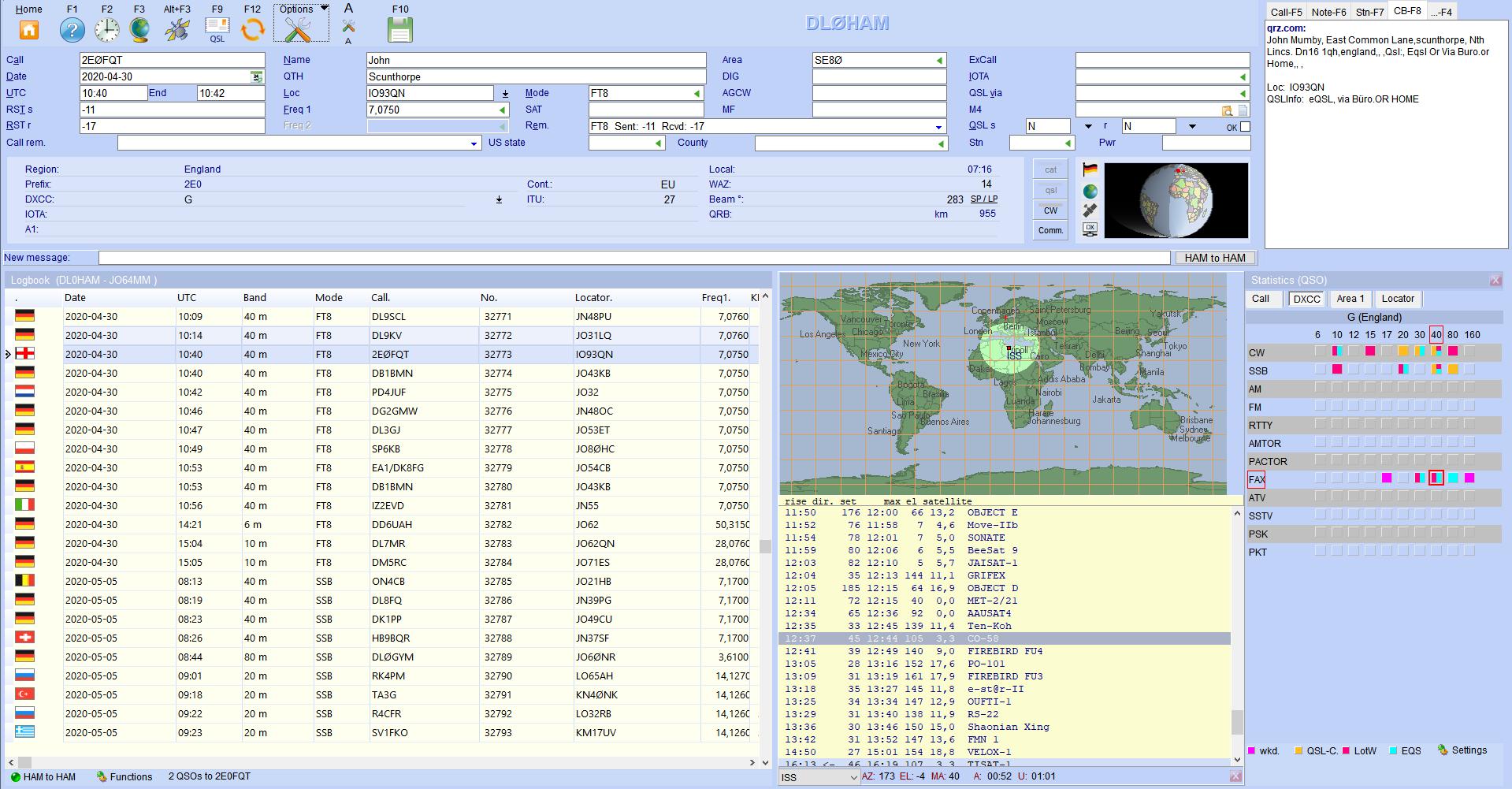 qso-input stellites staistics hamoffice my amateur radio logbook
