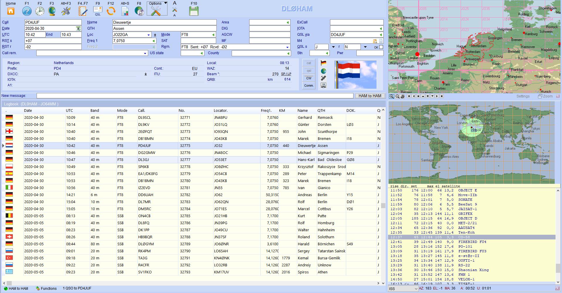 qso-input worldmap satellits hamoffice my amateur radio logbook