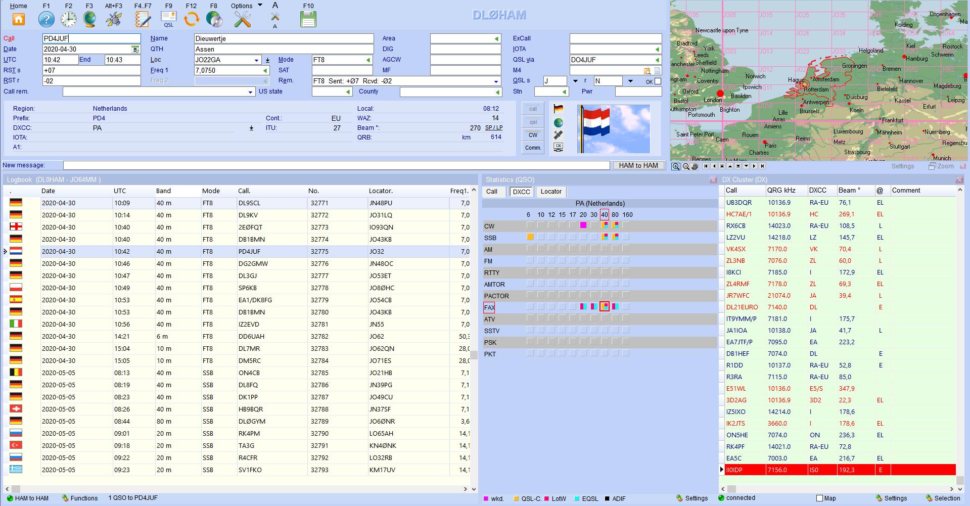 qso-input worldmap dxcluster hamoffice my amateur radio logbook