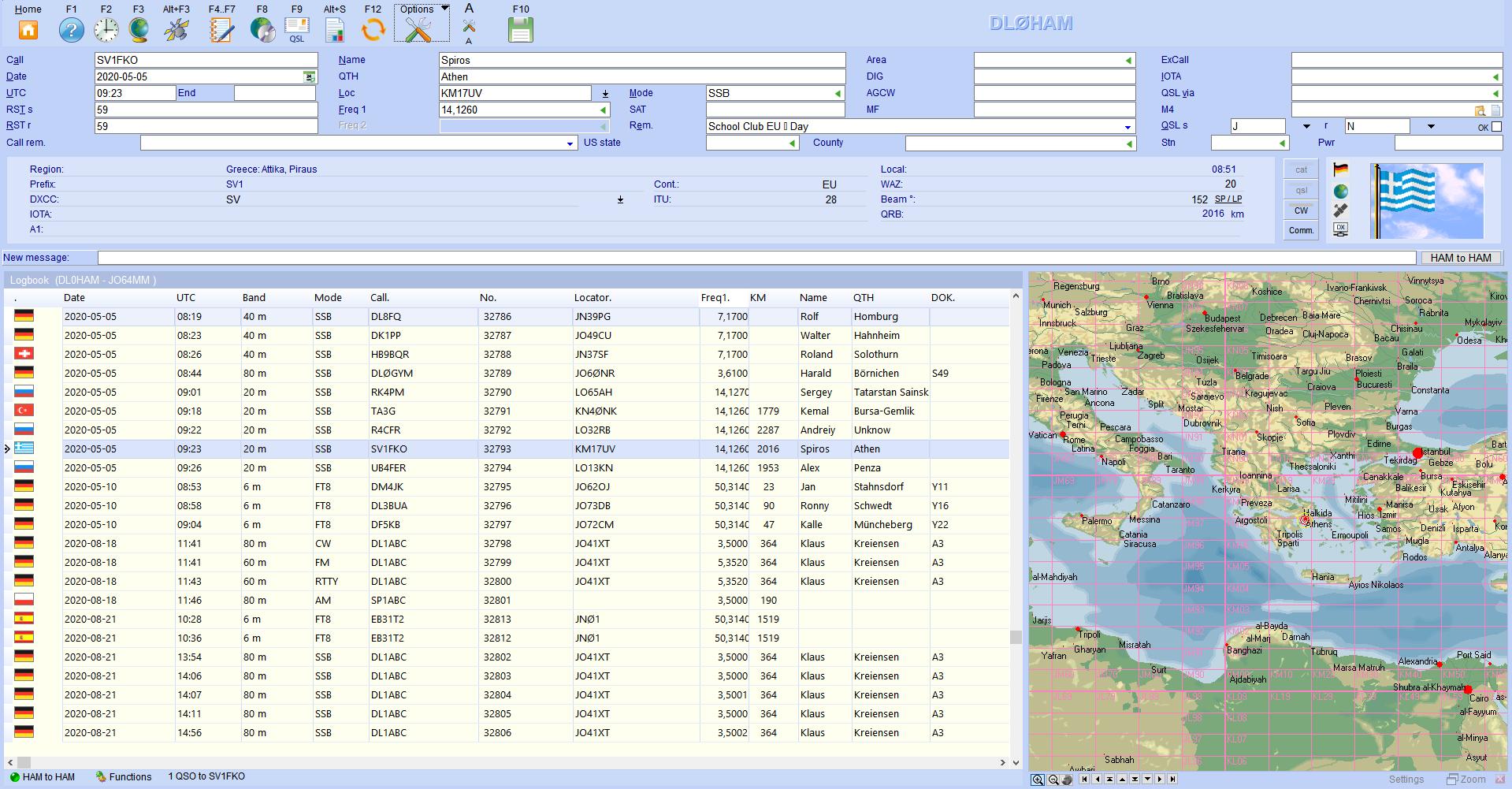 qsoinput with map hamoffice my amateur radio logbook