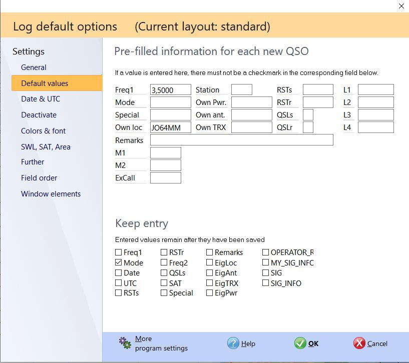 qso input defaults hamoffice my logbook amateur radio