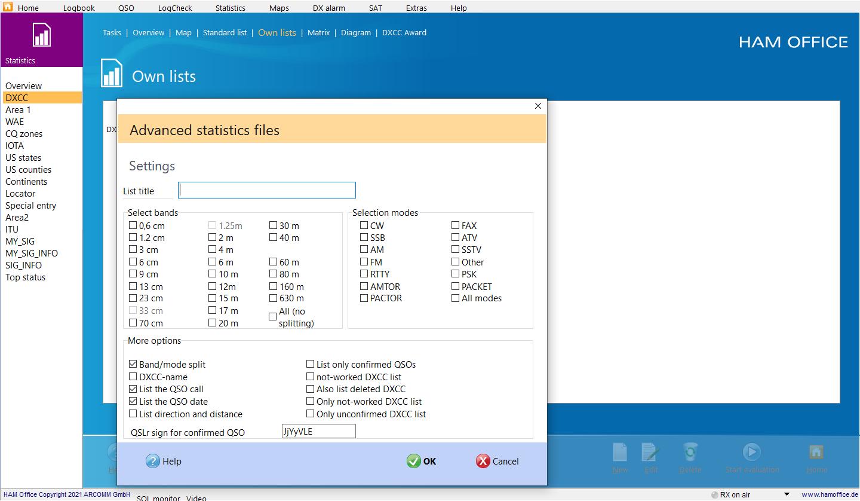 qso-evaluation individual statistics hamoffice my amateur radio logbook