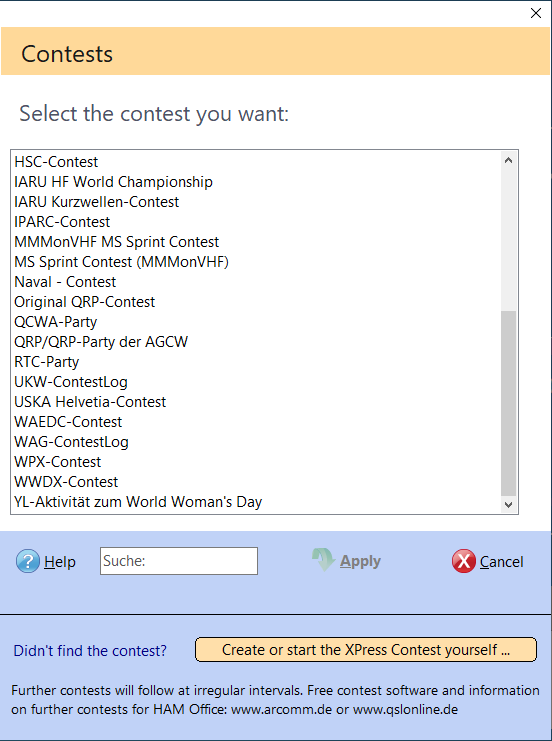 Select predefined Contestlogs